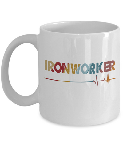 Ironworker Coffee Mug, I Love My Ironworker Mug, Lineman Vintage Heartbeat Gifts for Men, Women