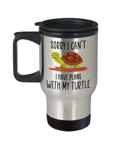 Sorry I Can't I Have Plans With My Turtle Mug, Cute Sea Turtle Gift for Her, Daughter, Mom Travel Mug 14 ounce