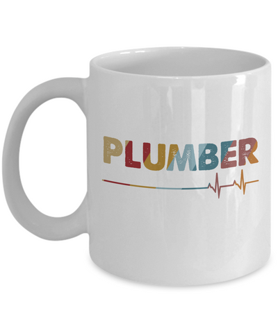 Plumber Heartbeat Mug, I Love My Plumber Mug, Plumber Vintage Heartbeat Gift for Men, Women