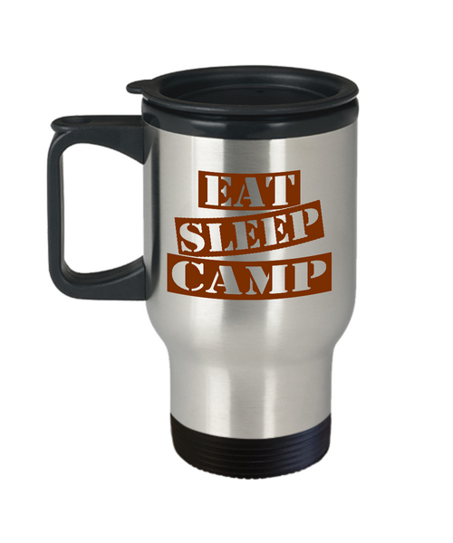 Funny Camping Mug- Eat Sleep Camp Travel Mug Stainless Steel 14 Oz