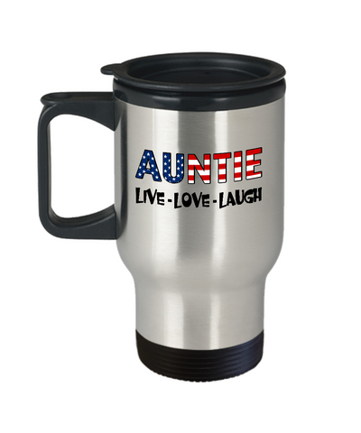 Auntie U.S. Flag Pride Mug Gift, Live Love Laugh Travel Mug Stainless Steel 14 Oz