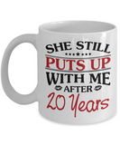 20th Anniversary Gifts for Men, Funny 20th Anniversary Mug for Him, 20 Years Wedding Anniversary Coffee Mug