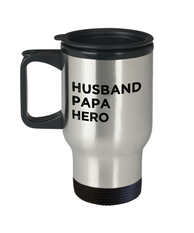 Husband Papa Hero Mug Gift for Him Fathers Day Travel Mug 14oz