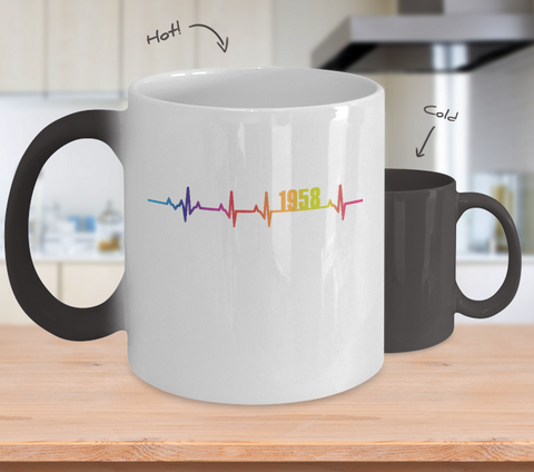 60th Birthday Gift 1958 Heartbeat Color Changing Mug for Men Women