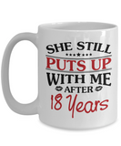 18th Anniversary Gifts for Men, Funny 18th Anniversary Mug for Him, 18 Years Wedding Anniversary Coffee Mug