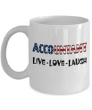 Accountant U.S. Flag Pride Mug Gift, Live Love Laugh White Color Coffee Mug 11oz, 15oz