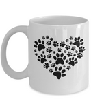 High Tide Mugs Heart Dog Paw Pet Love Black & White 11oz Ceramic Coffee or Tea Mug Cup