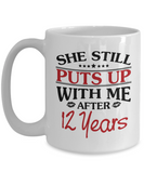 12th Anniversary Gifts for Men, Funny 12th Anniversary Mug for Him, 12 Years Wedding Anniversary Coffee Mug