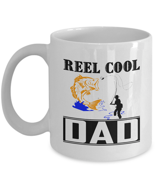 Cool Fishing Dad Mugs Funny Fathers Day Gift for Fisherman Coffee Mugs White Color