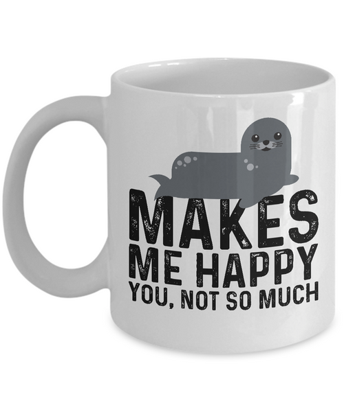 Funny Grey Seal Mug, Sea Dog Coffee Mug, Seals Makes Me Happy Mug for Animal Lovers Gifts Idea