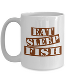 Funny Fishing Mug- Eat Sleep Fish Coffee Mug Gift Ideas White Color 11oz, 15oz