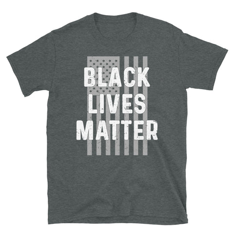 Black Lives Matter Shirt, American Flag Pride Graphic Gift Short-Sleeve Unisex T-Shirt