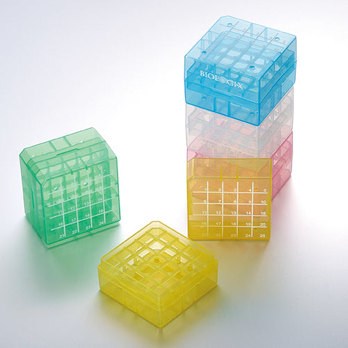 BIOLOGIX 90-9025 2 INCH 25 WELL POLYPROPYLENE FREEZER BOX (DIMENSIONS: 75x75x52mm) W/ REMOVABLE LID. BOXES/LIDS HAVE NUMERIC GRID FOR IDENTIFICATION PURPOSES. BOXES COME IN ASSORTED COLORS (CLEAR, PINK, BLUE, GREEN AND YELLOW). 24/CASE,