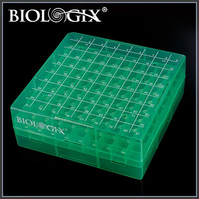 Biologix 90-9081 2 Inch 81 Well Polypropylene Freezer Box (Dimensions: 132X132X53Mm) W/ Removable Lid.