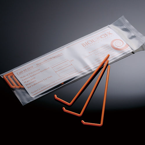 Biologix Model 65-1001 Polystyrene Orange Sterile L-Shaped Cell Spreader, Individually Wrapped (Case of 500)