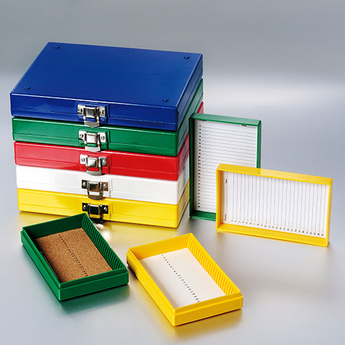 "BIOLOGIX 41-6100-1 100-PLACE (8.25x6.37x1.25"") ASSORTED COLOR    NON-STERILE ABS MATERIAL SLIDE STORAGE BOX W/ CORK LINING FOR USE W/ 1"" AND 3"" MICROSCOPE SLIDES.  COMES W/ HINGED COVER THAT INCLUDES SLIDE INDEX SHEET.  5 BOXES/PACK, 6 PACKS/CASE,"