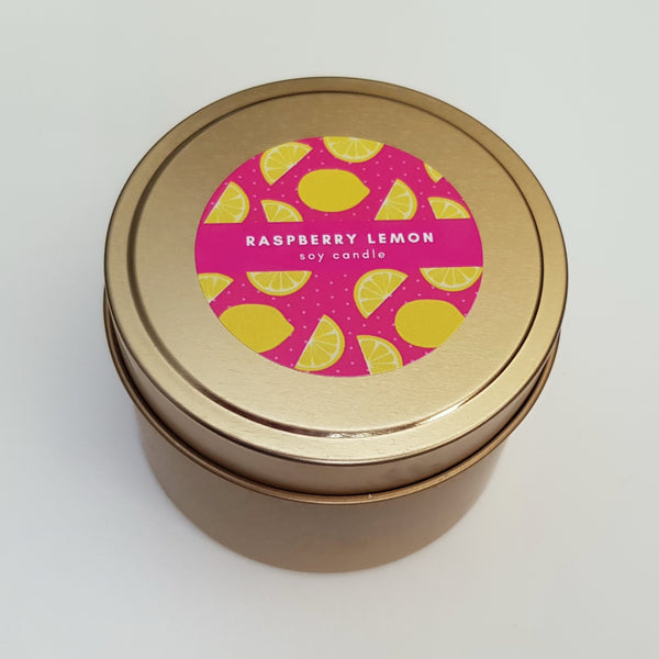 Raspberry Lemon Tin Soy Candle