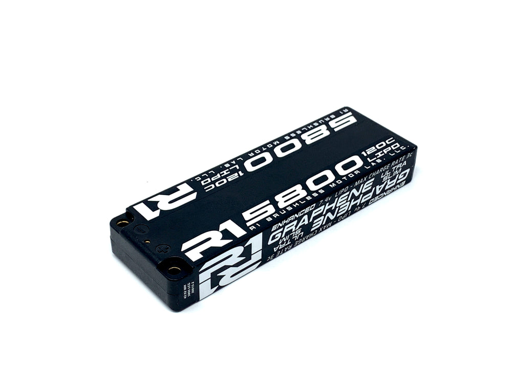 R1 5800mah 120C 7.4V 2S <BR>Enhanced Graphene Super Slim Battery 030015-2