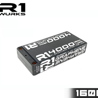 R1 4000mah 120C 7.4V 2S LIPO Enhanced Graphene Shorty Battery 030018 D1