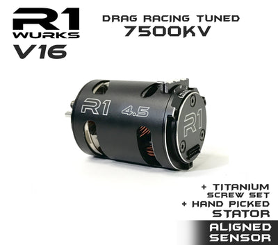 R1 4.5T V16 Drag Racing Tuned 7500kv Motor w/ Aligned + Hand Picked stator + Titanium Screw Kit 020109-4