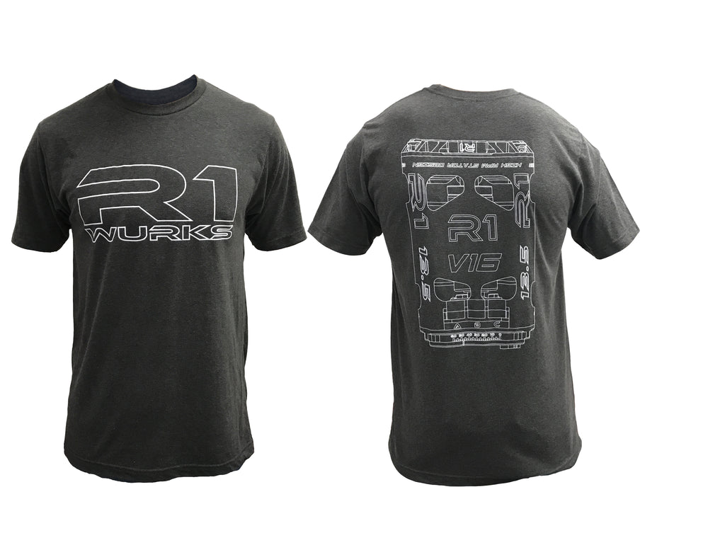"R1 ""V16"" T-Shirt FBM - R1 Brushless Motor Lab, LLC."