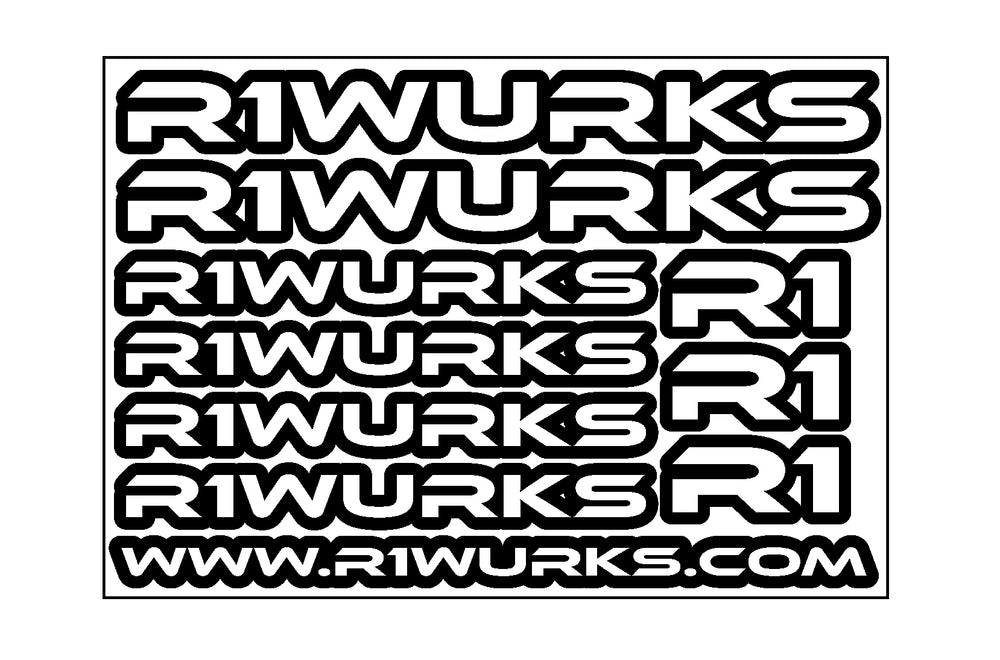 R1 WURKS STICKER SHEET - R1 Brushless Motor Lab, LLC.