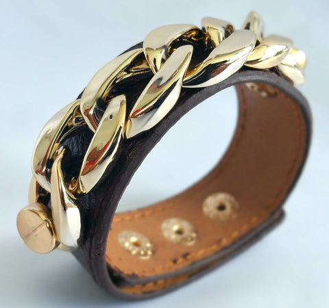 BR18BR punk leather gold chain bracelet bangles
