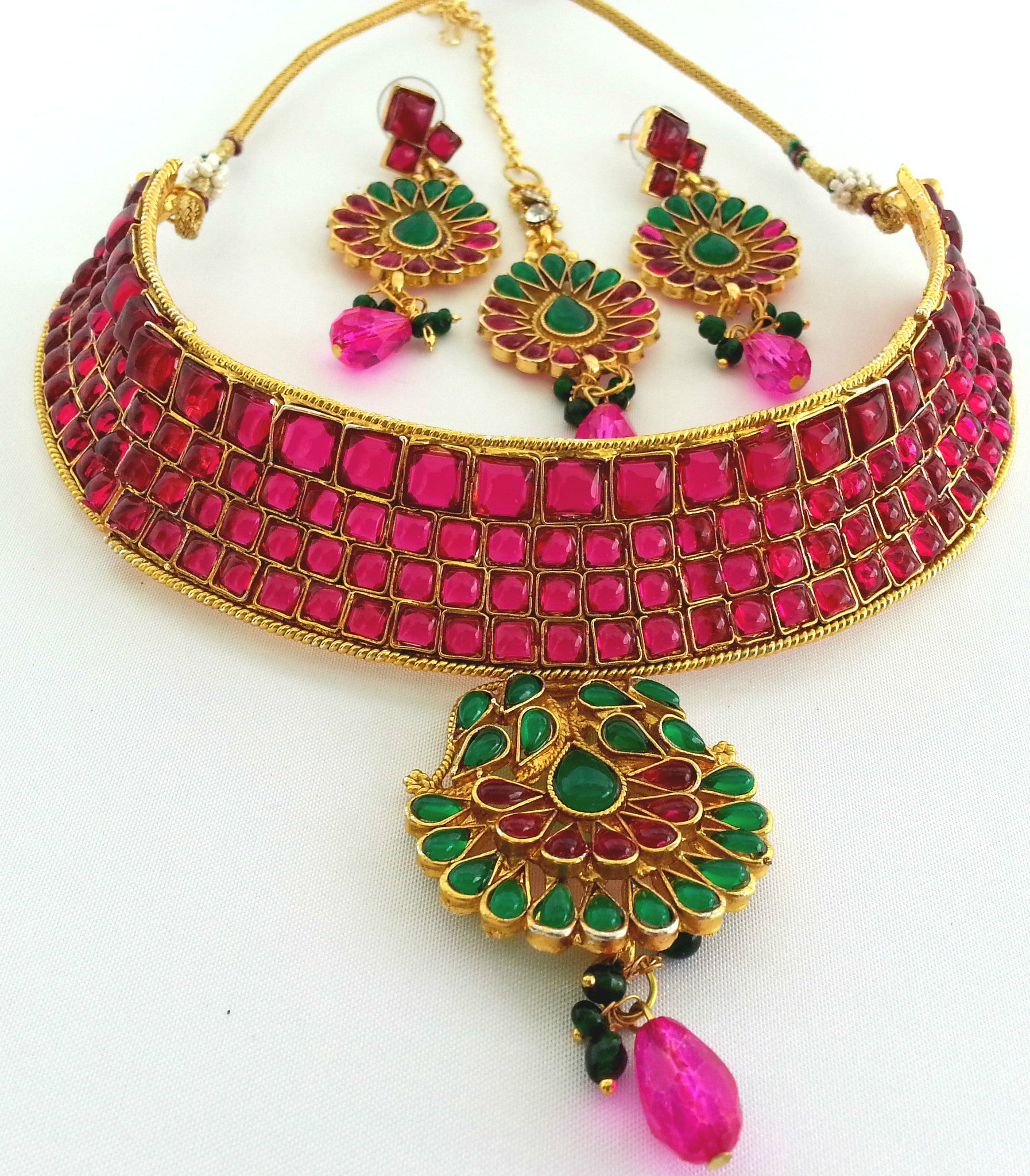 set necklace belsi gold buy pink jewelleryset and green s jewellery plated product