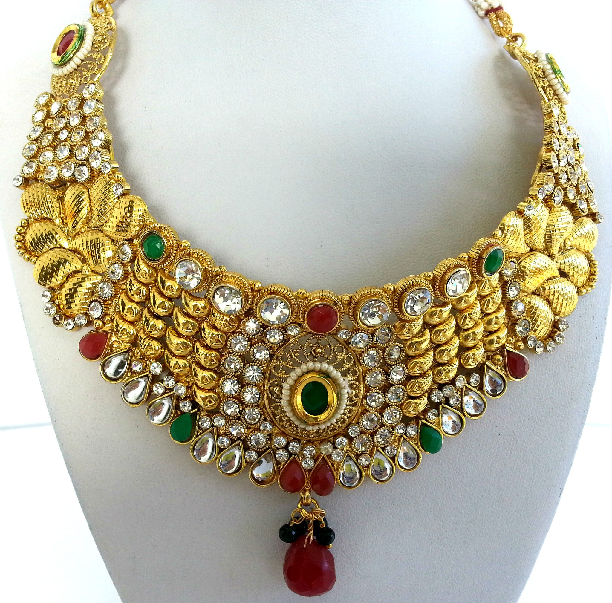 thewa online enamel maroon set necklace kundan product buy and beads with voylla