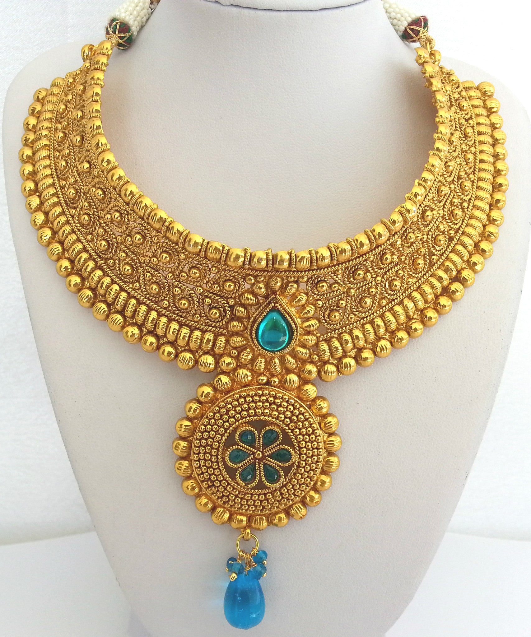 BN37 Big Gold and sparkly blue polki necklace set TROPICALMISS