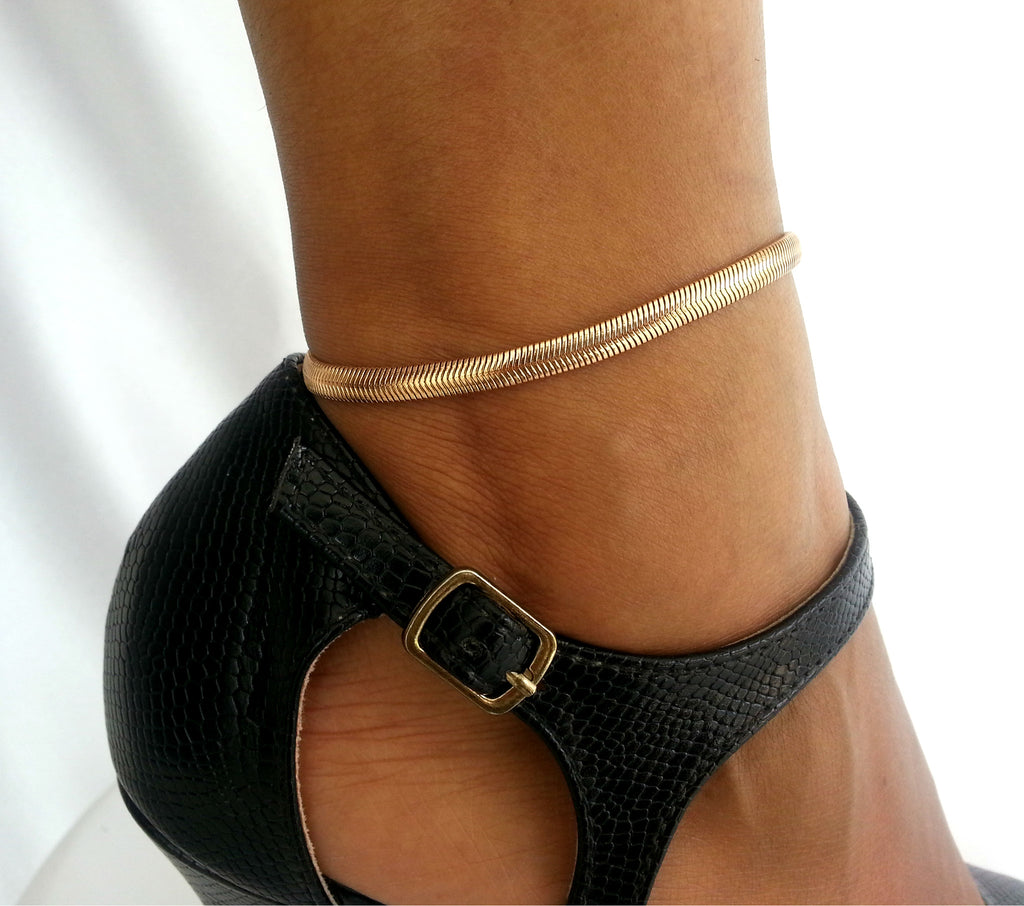 AN7G Gold  flat chain Anklet