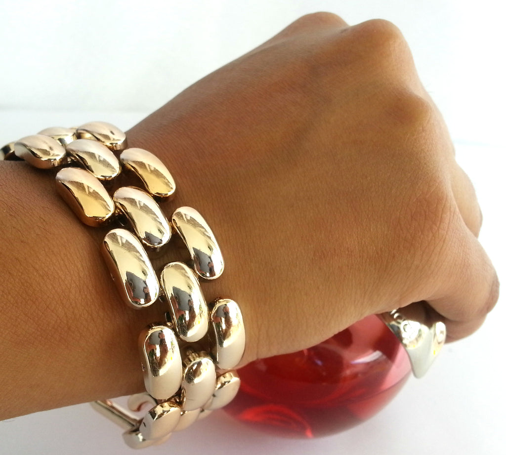 BR23 Acrylic  gold plated chain link bracelet
