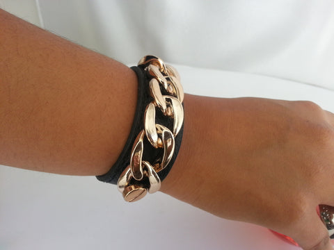 BR18BK punk leather gold chain bracelet bangles