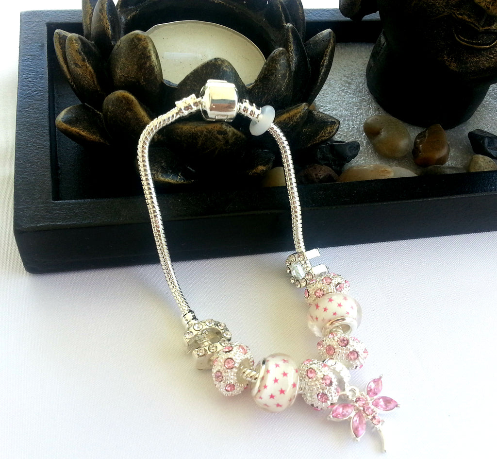 BR58 Charming Pink glass beads  Bracelet