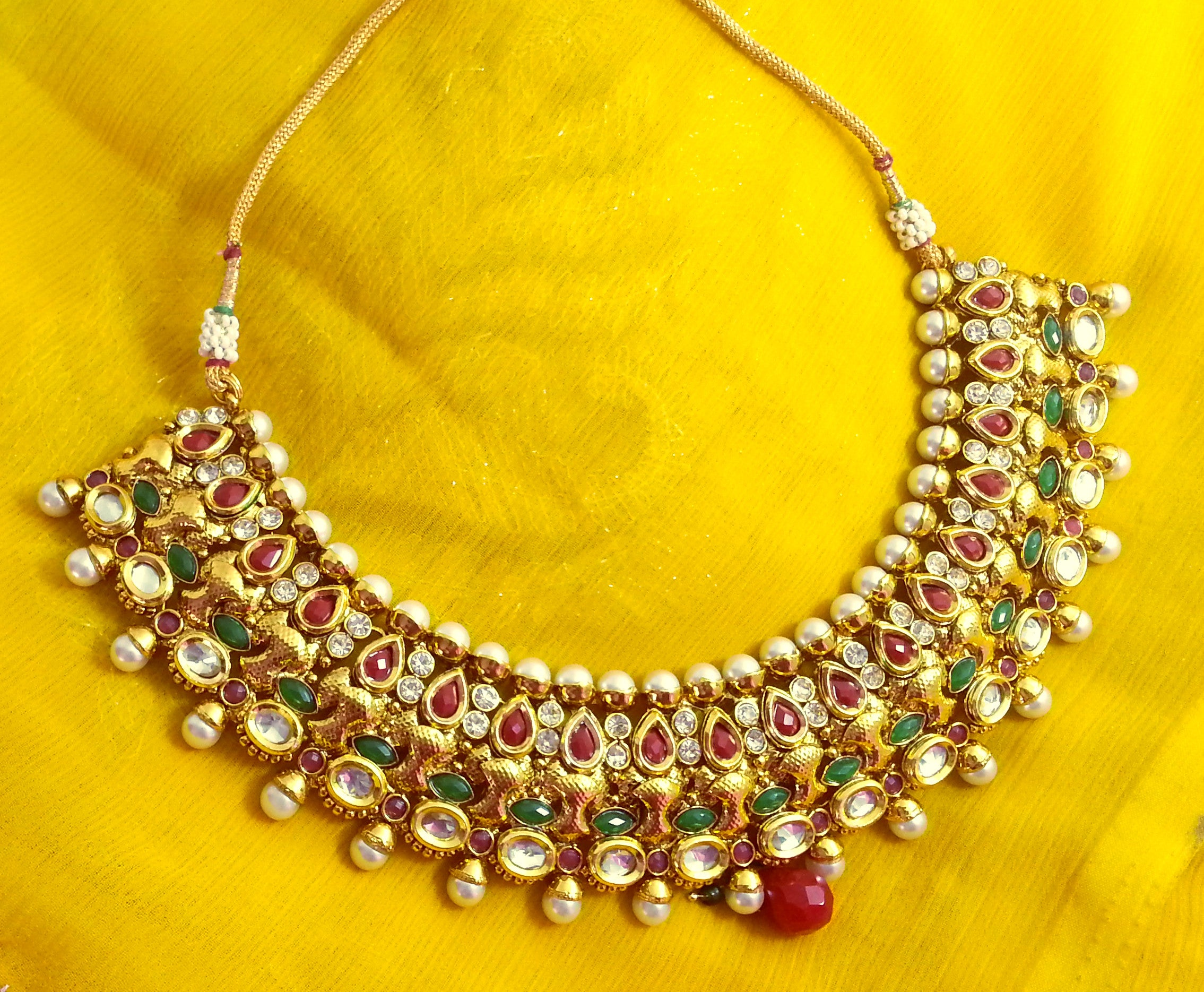 shopping live golden maroon with necklace set and to hover shop bengal one aaradhya life fashion store thread product zoom