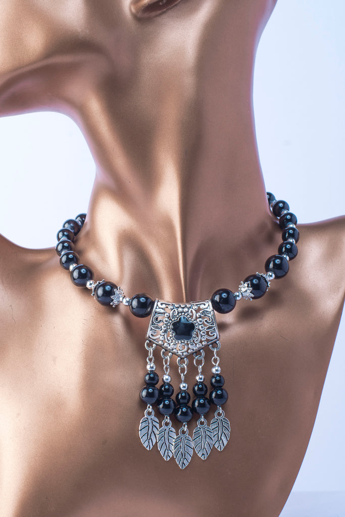 JE252 Bohmemian style glass simulated black pearls necklace