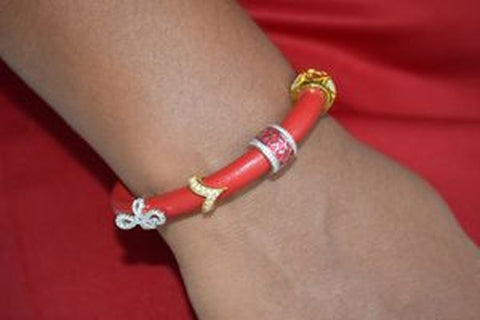L007REWS Red Leather Bracelet