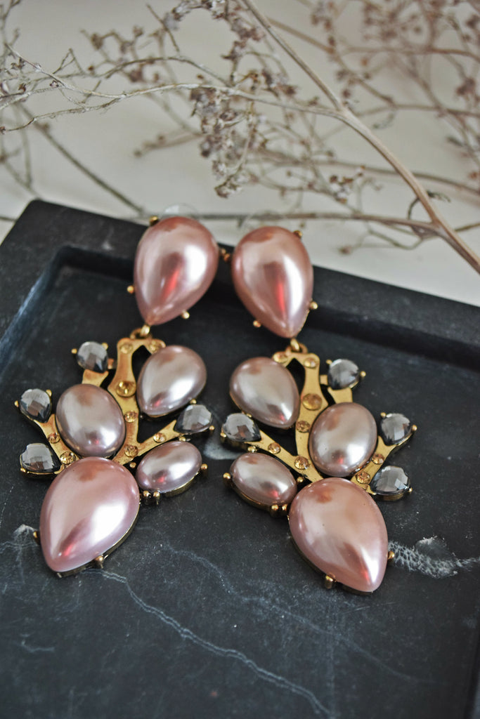 ER110 Graceful Mauve Pink big Earrings