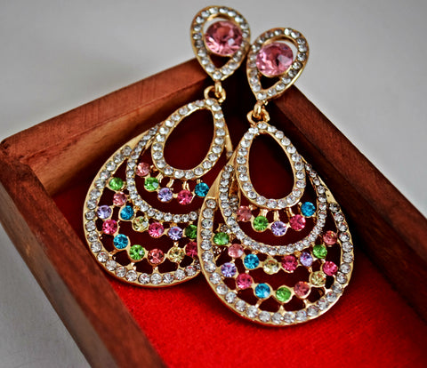 ER109 Elegant multi coloured crystals earrings