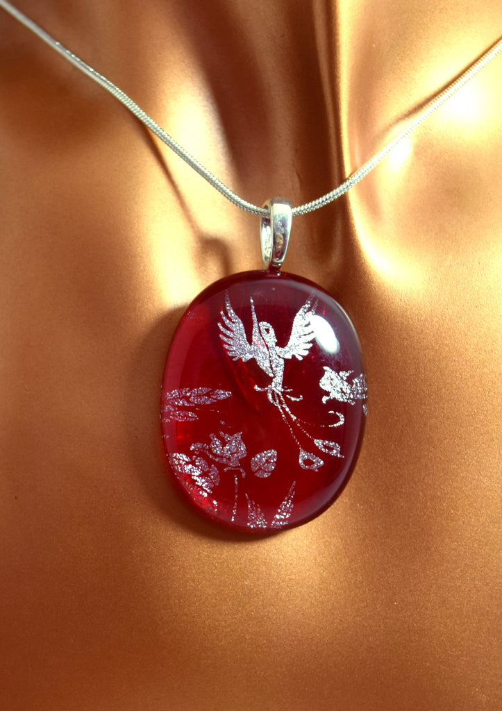 LN8 Red Hummingbird Silver Dichroic Glass Necklace