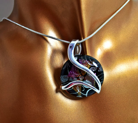 LN5BL Aurora 3D Venus Black  Dichroic Glass Necklace