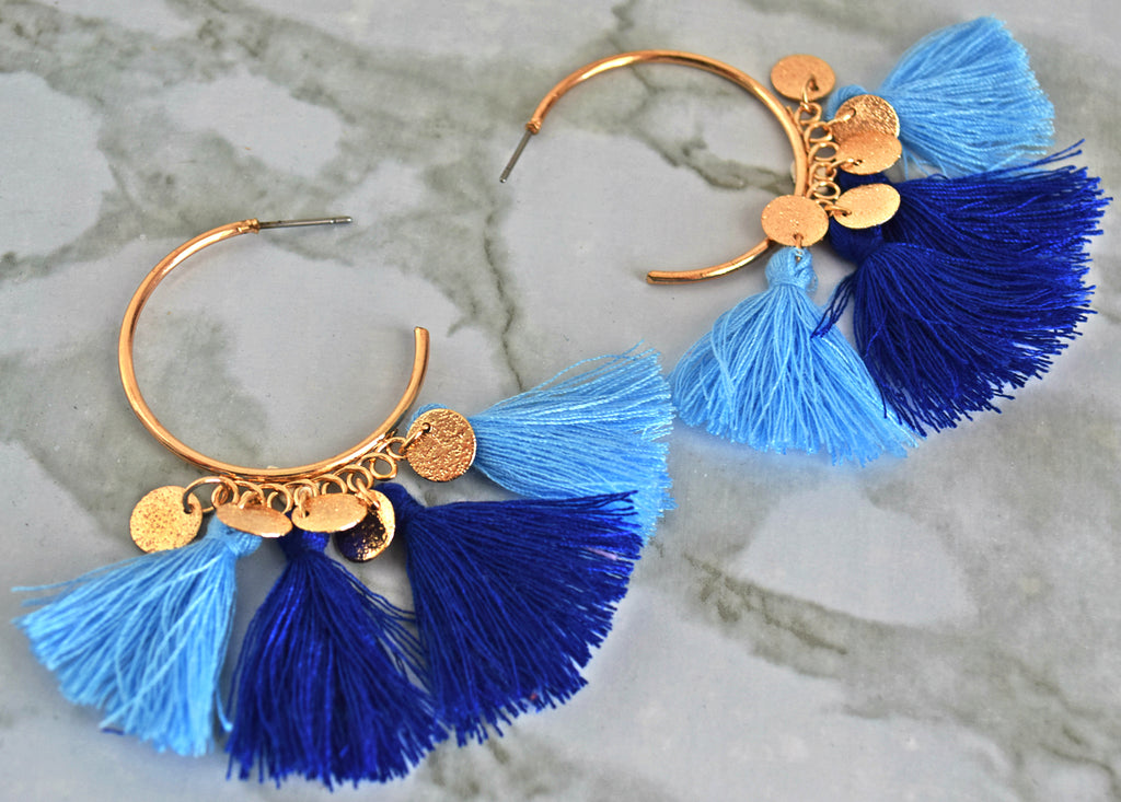 ER117 Gorgeous Blue and Gold Tassel Earring