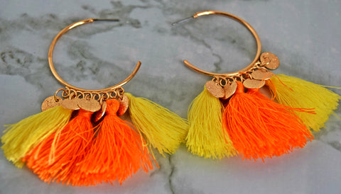 ER117O Gorgeous Orange and Gold Tassel Earring