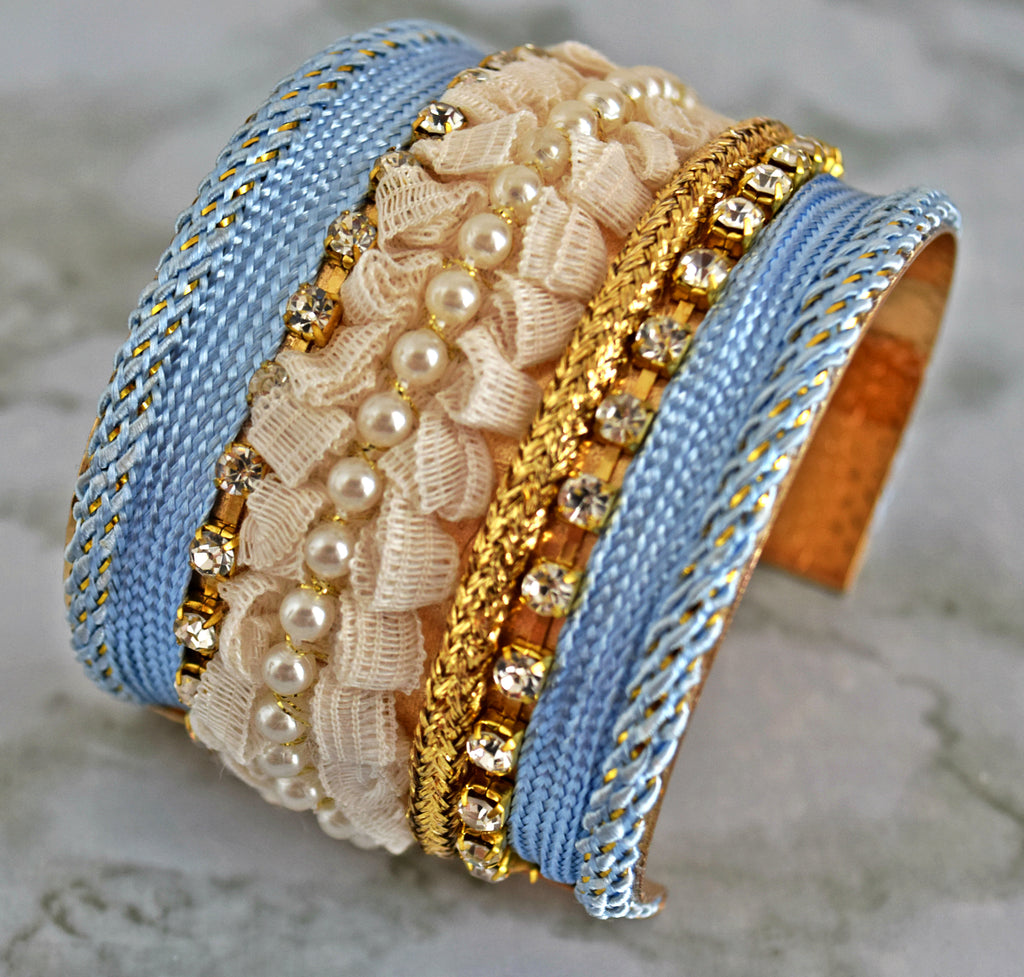 BR76 Open Cuff Pastel Blue with pearl and lace Bracelet