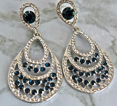 ER109B Elegant Dark Blue crystals earrings