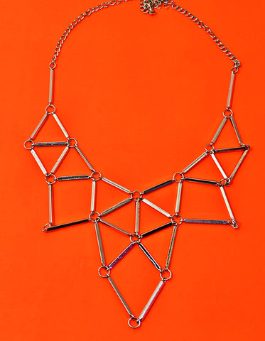 JE235 Triangular shaped hollow out  Silver Necklace