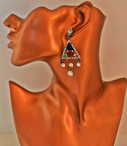 ER96 Beautiful Multicoloured Rhinestone Earrings