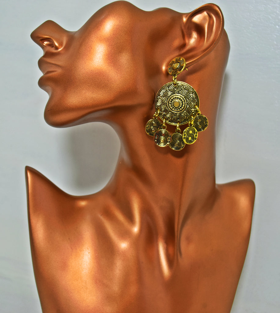 ER97 Gorgeous golden coin retro drop earrings