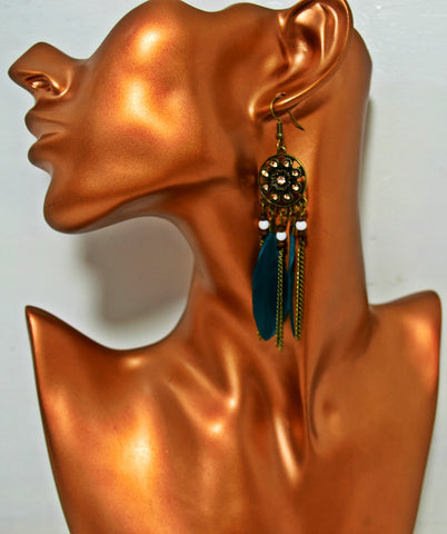 ER101 Elegant Faux Feathers Deep Turquoise Earrings