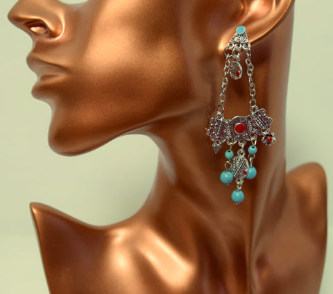 ER99 Silver Engraved geometric floral beads earrings